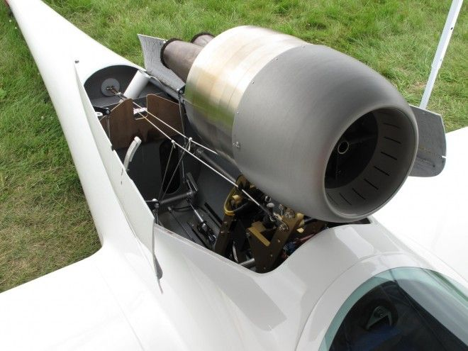 These small jet engines are neat on sail plane gliders, but I would really like to see one on a custom chopper motorcycle instead.  :)