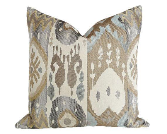 Cream Grey Ikat Pillow, Modern Accent Pillow, Metallic Colors, Taupe Blue Throw Pillow, Contemporary Decor, 12x18, 18x18, 20x20 inches