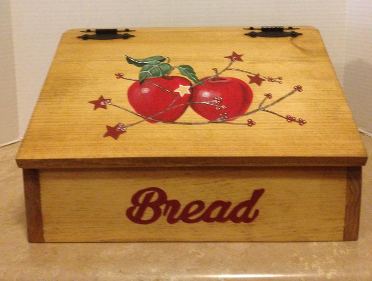 Bread Box, Apple Decor, Apple Kitchen Decor, Primitive apples, Country Decor, Wooden Bread Box, Box for bread, Red Apple Decor, Apples by SealsFamilyWoodworks on Etsy