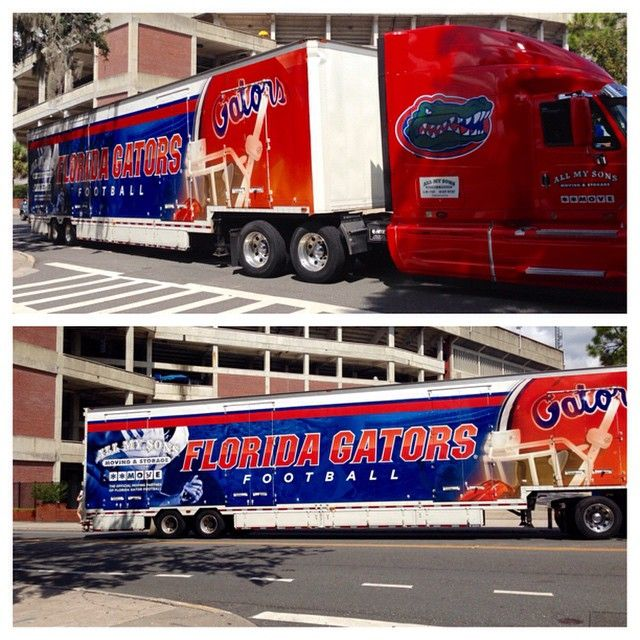 The Gators football equipment truck heading to Tuscaloosa. Learn more about what it takes to prepare and transport the equipment for an away game at http://www.gatorzone.com/equipment/?p=media .