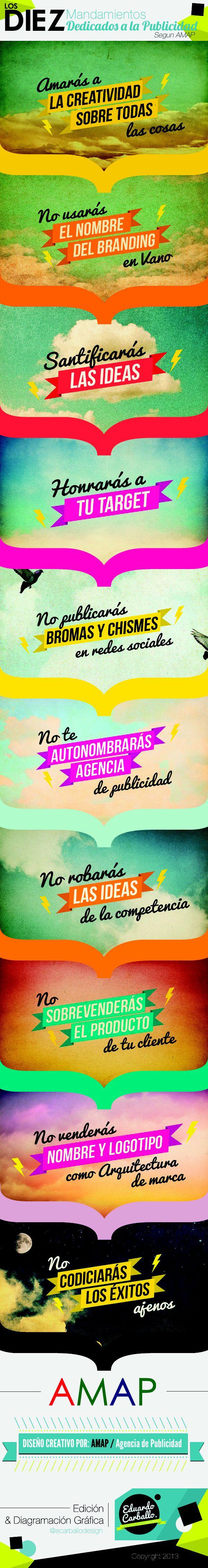 Edición & Diagramacion sobre diseño creativo realizado por la Agencia de Publicidad #AMAP  #10MandamientosDedicadosParaPublicidad  Copyrigth 2013