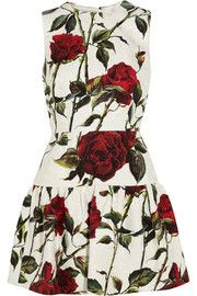 Dolce & GabbanaFloral-print cotton-blend brocade mini dress