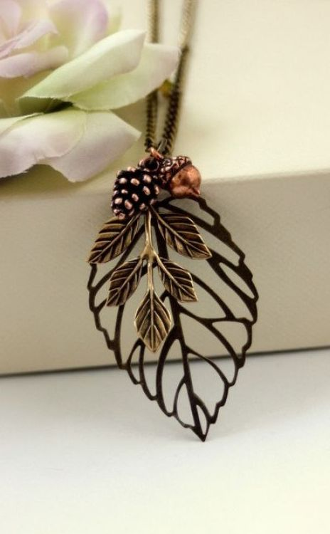 Antiqued Bronze Leaf Pendant with Copper Acorn and Pinecone Necklace