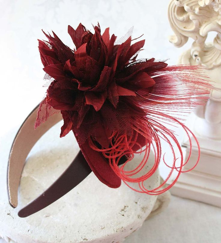 Victorian Tea Party Hats   LADY AUTUMN Mini Tea Party Hat Fascinator with Fabric Flower ...