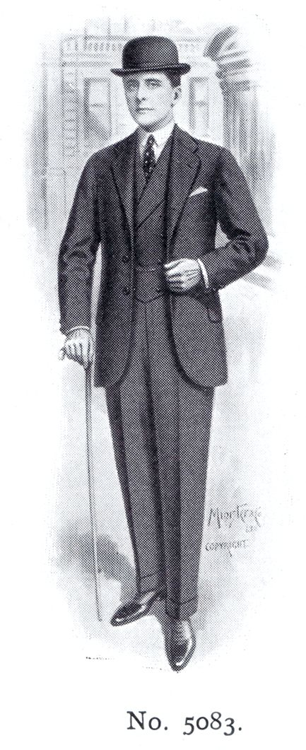 1910s mens suit, with bowler hat.