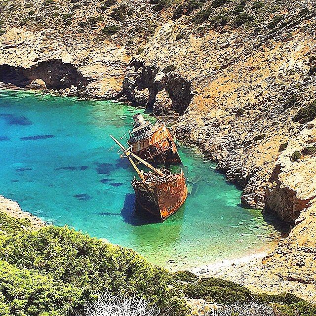 """The melancholic but at same time beautiful ... Shipwreck called """"Olympia"""" , at Amorgos island (Αμοργός) . The ship was wrecked in February 1980 and now is one of the wonderful attractions in the island ! You can feel the atmosphere full of memories ..."""
