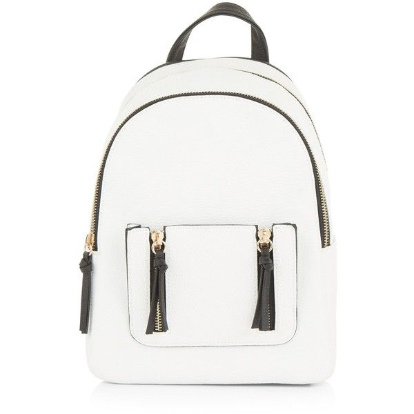 New Look White Zip Trim Mini Curved Backpack ($25) ❤ liked on Polyvore featuring bags, backpacks, white pattern, rucksack bags, white mini bag, mini bag, daypack bag and miniature backpack