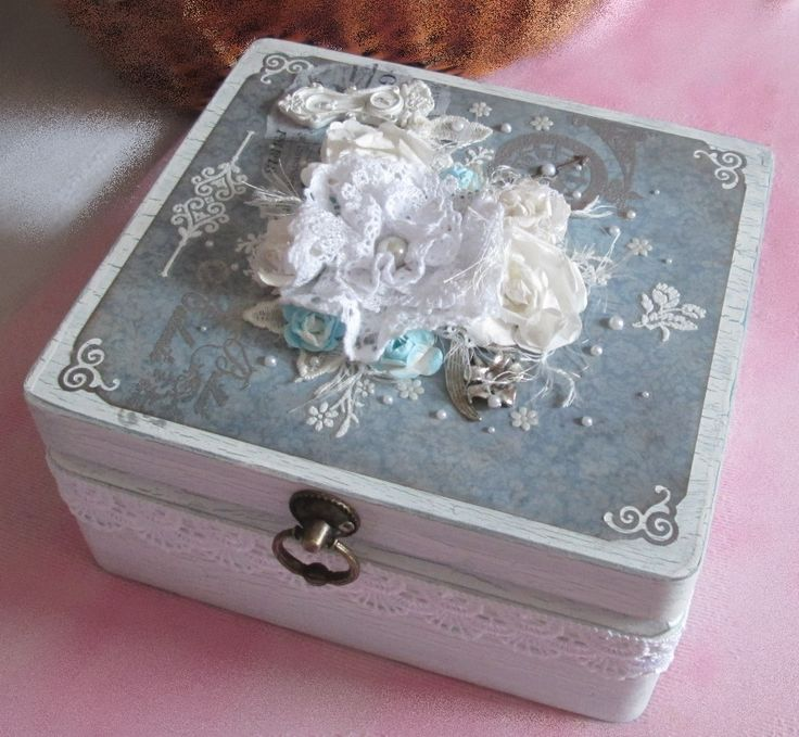 White wooden box with patina, decorating scrapbook paper and lace, paper flowers, resin and metal ornaments....