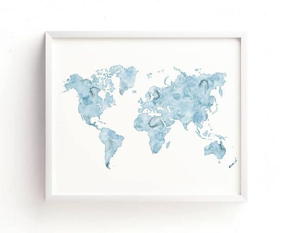 Mejores 15 imgenes de world map art en pinterest arte mapamundi watercolor world map print 11x14 light blue watercolor gumiabroncs Images