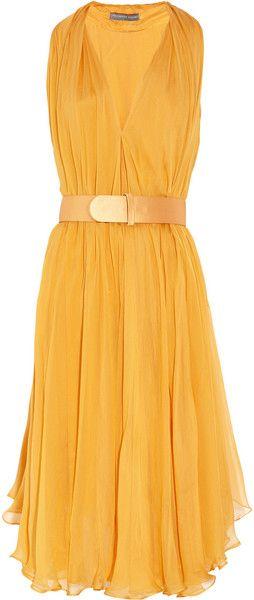 Alexander Mcqueen Yellow Belted SilkChiffon Dress