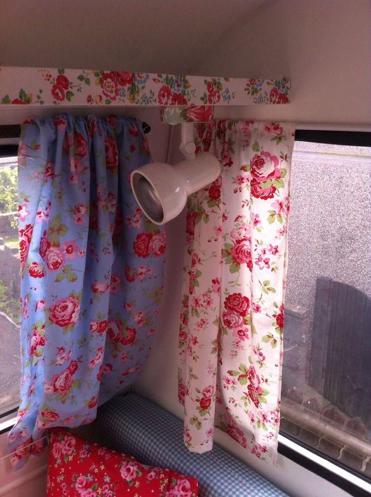 Shabby chic caravan interior. Decoupage shelf and lamp