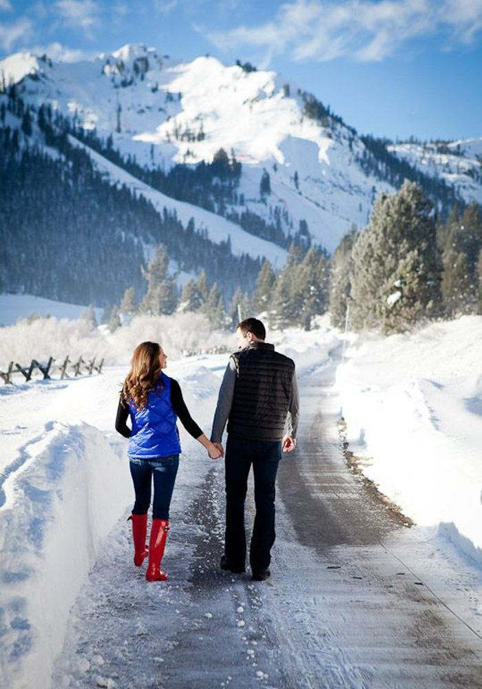 Some of the Canada's greatest landscape shots have been captured in the winter months. Use snowy surroundings to your advantage, like this couple did, for some amazing engagement photos.    Photo by  Colson Griffith Photography  .