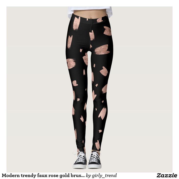 Modern trendy faux rose gold brushstrokes pattern leggings