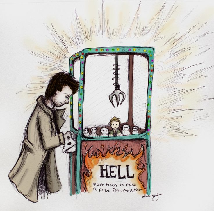 Destiel fan art of Castiel raising Dean Winchester from Perdition (Hell) drawn by ShinyRedApples aka gothamteaparty on tumblr. So cute! Awesome claw machine comic art for the Supernatural Fanfiction Love When You Aren't Looking- by Aleandri.