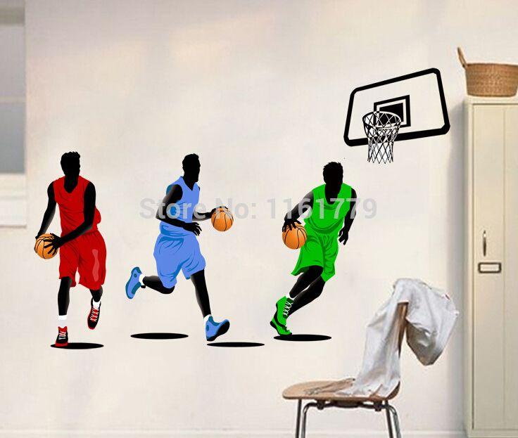 Баскетбол Спорт Стены Стикеры Наклейка Стекло Окна Декор DIY Качество SGS Съемный ПВХ материал Большой 160x110 см Бесплатная Доставка доставка