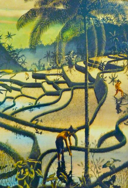 Painting of the rice fields by Walter Spies (1898-1940) who lived in Bali many years
