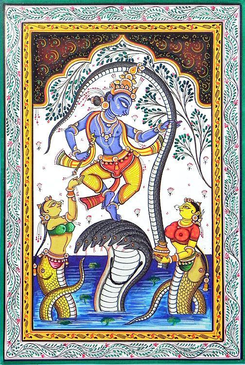 Kaliya Daman (Orissa Paata Painting on Canvas - Unframed))