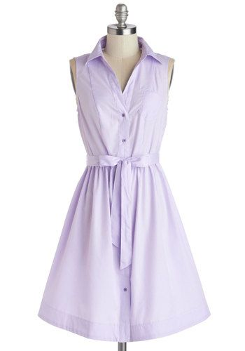 Grape Ice Dress - Mid-length, Woven, Purple, White, Stripes, Buttons, Belted, Casual, Shirt Dress, Sleeveless, Summer, Good, Collared, Pastel