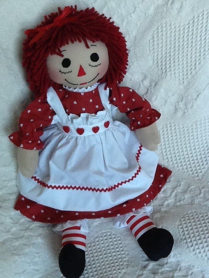 Handmade Raggedy Ann Doll Red Valentine Heart Print