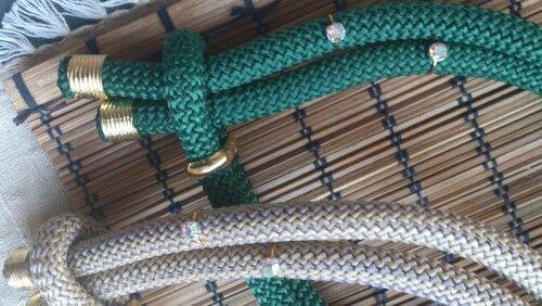 Χειροποίητα κολιέ απο ορειβατικο κορδόνι με στρας και επιχρυσωμενα στοιχεία www.etsy.com/shop/bizeli