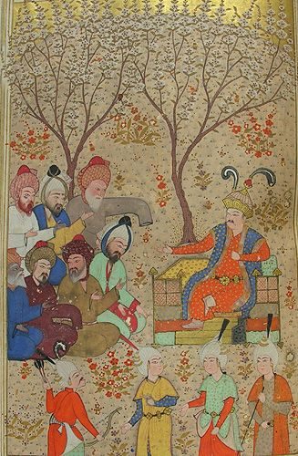Illustration depicting Alexander the Great and the seven philosophers (Aristotle, Apollonius of Tyana, Socrates, Plato, Thales, Porphyry, and Hermes). From p.729 of MS Browne 1434, the Khamsa of Nizami (Persian, 1540). This scene comes from the fifth part of the Khamsa, 'The Book of Alexander'.