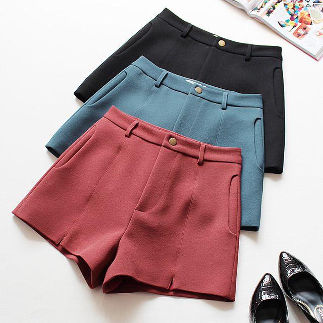2016 горячей дизайнер осень зима шорты мода черный Краткая Стиль тонкий твердые случайные шорты Высокой Талией Шорты
