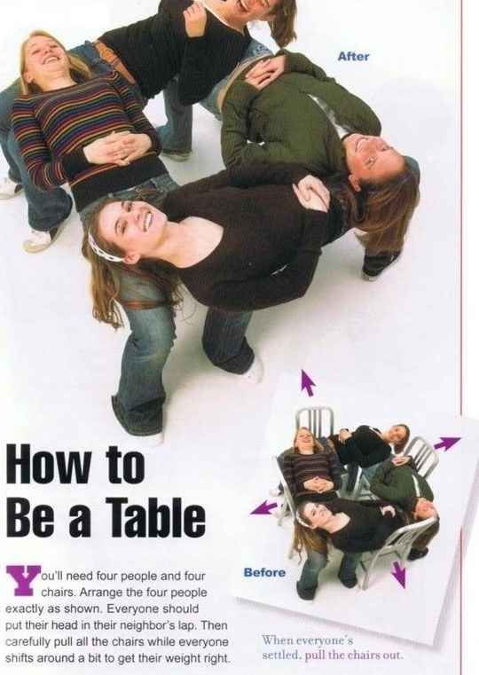 Make a human table...because it's fun, I guess? | 22 Awesomely Useless Party Tricks You Can Learn Right Now
