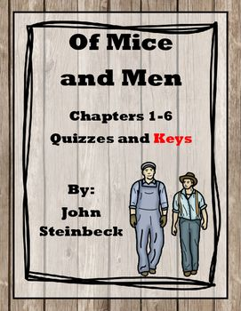 This product is a very simple, clean bundle of quizzes and keys for all 6 chapters in Of Mice and Men.  Each of the quizzes contain 5 multiple choice, comprehension style questions to assess the students' understanding of the novel.  Furthermore, the quizzes serve as a reading check and hold all of the students accountable for reading homework assignments.I sell the quizzes and keys individually as well!Chapter 1…