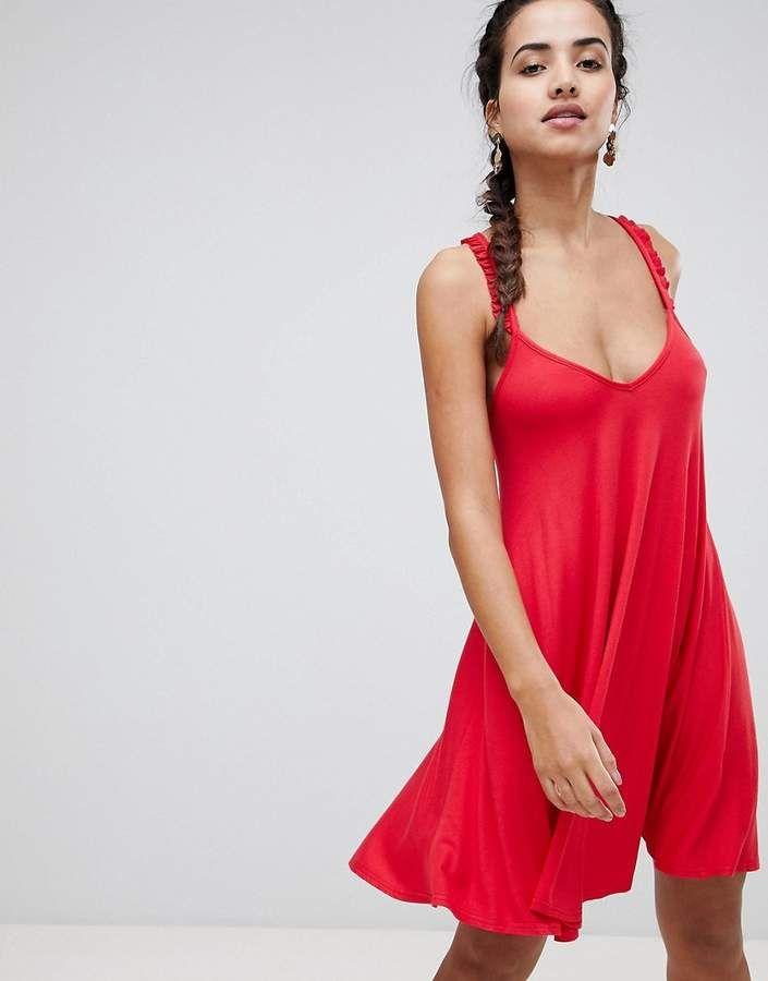 c4c2145e34b0 Boohoo Frill Sleeve Cross Back Dress - Under $15 - #fashion #style  #shopping #deals #dresses