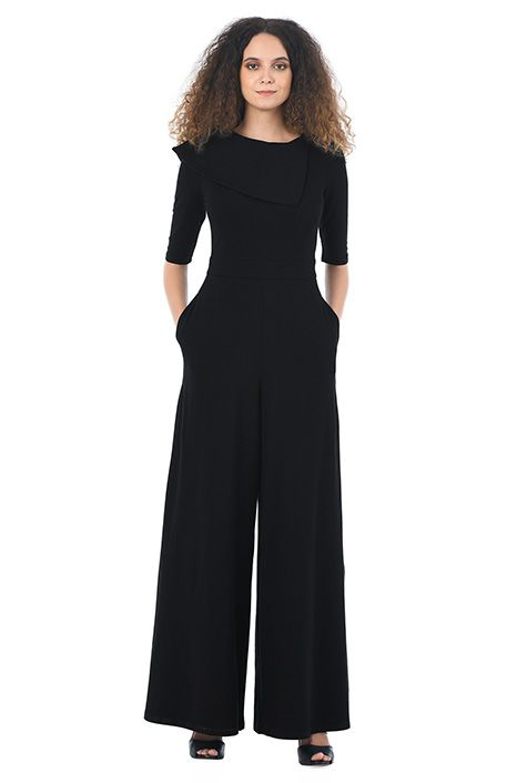 269051df8925 I  3 this Asymmetric collar cotton knit jumpsuit from eShakti