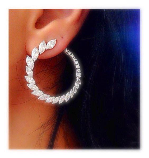 925 Silver Earrings,Cz diamond Ear Jackets,Cartilage double sided Bridal earring, ear cuff,Front Back earrings,huggies hoop,wedding earrings
