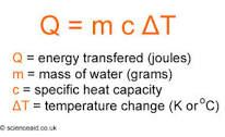 Energy transfer equation using specific heat capacity.