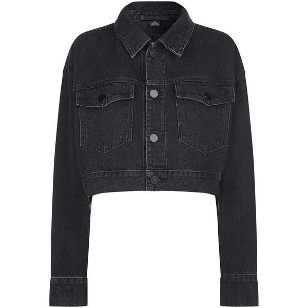 Alexander Wang Cropped Denim Jacket (4 450 SEK) ❤ liked on Polyvore featuring outerwear, jackets, denim jacket, cropped denim jackets, alexander wang, tailored denim jacket and alexander wang jacket