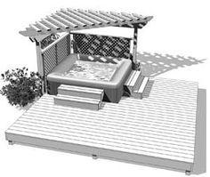 Aménagement Spa Pergola - Aménagement de terrasse de spa avec pergola en bois traité                                                                                                                                                      Plus