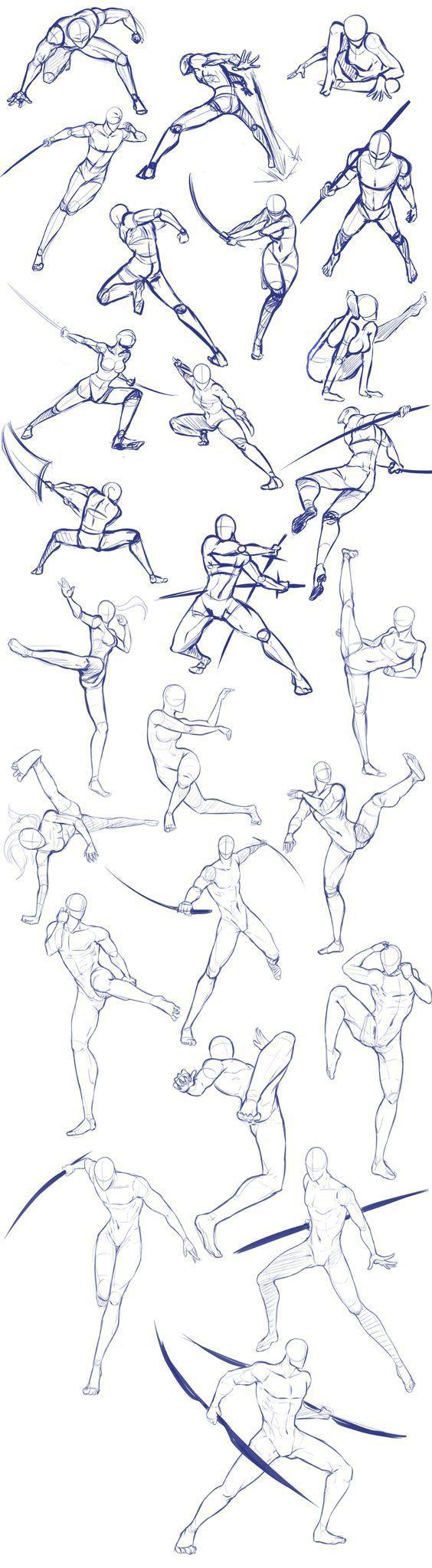 Esquisses et croquis pour apprendre a dessiner un personnage et buste d'homme en action
