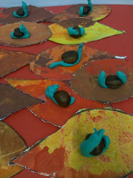 CARGOLS - Material:cartolina, pintura, castanyes, pasta secat ràpid -  Nivell: P3 INF 2015/16 Escola Pia Balmes