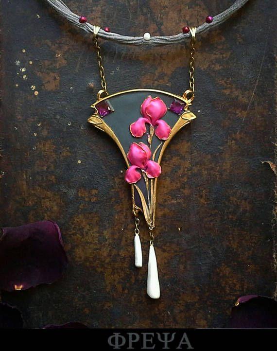 Art nouveau jewelry Art Deco jewelry Iris necklace polymer