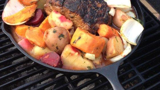 Outdoor Pork Loin with Veggies