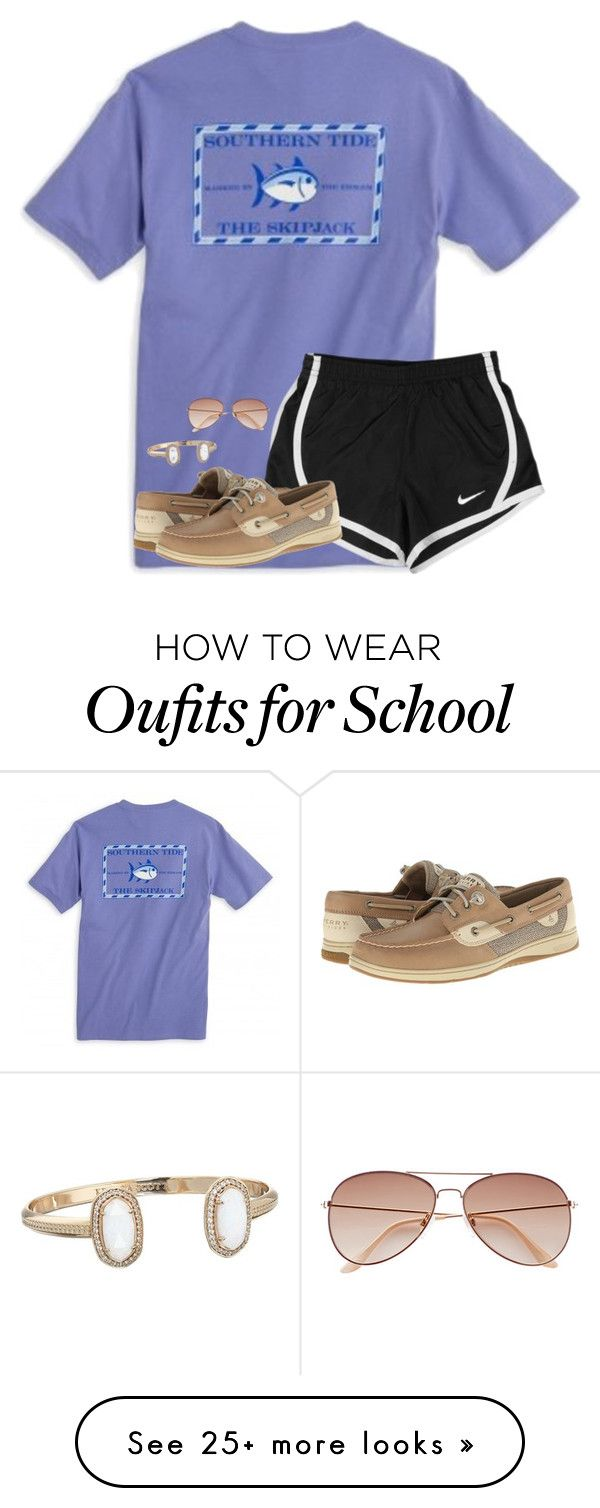 """No school today!"" by ponyboysgirlfriend on Polyvore featuring NIKE, Sperry, Kendra Scott and H&M"