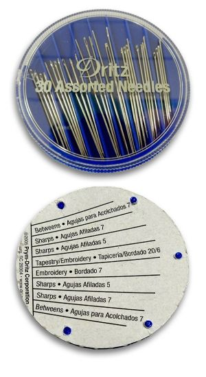 Pick up a needle compact if you want to keep a variety of hand needle styles and sizes handy. Dritz compacts have a guide on the back. More hand needle info on the make something blog. #sewing #tip