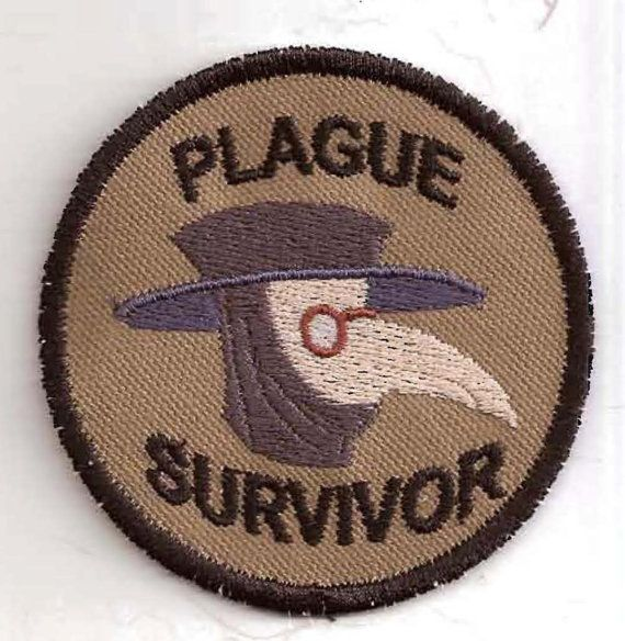 I don't remember ever seeing this Girl Scout patch.     Plague Survivor Merit Badge Patch by StoriedThreads on Etsy, $8.00