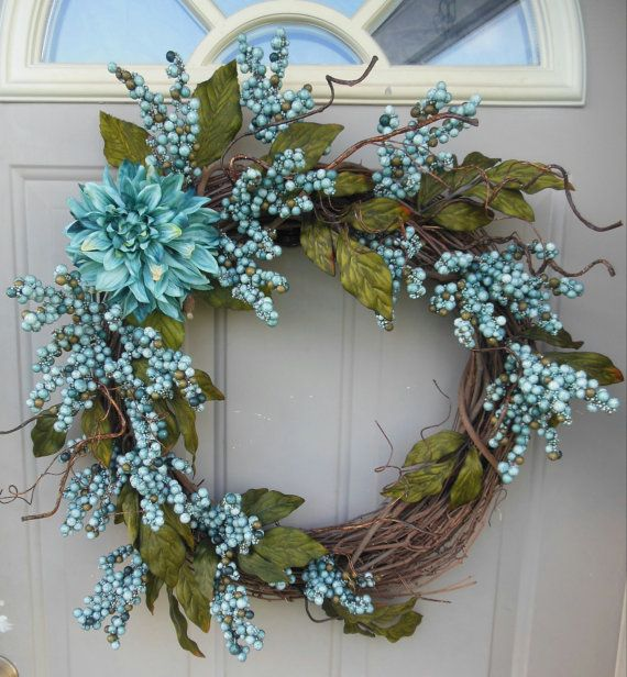 Spring/ Summer grapevine wreath, turquoise wild flower and berry branches