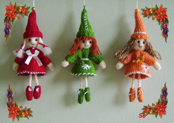Bell elves pattern only immediate download flats for Knitted christmas bells