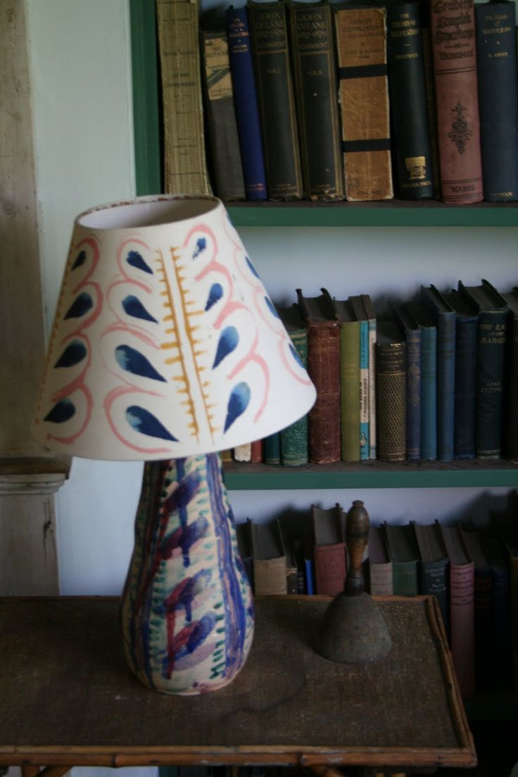 Lamp designed by Vanessa Bell in the bedroom of Virginia Woolf at Monk's House, Sussex