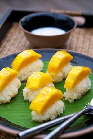 Mango with Sticky Rice. ripe mangoes, sweet rice, brown sugar, coconut milk. (I thought it was just made with condensed milk?)