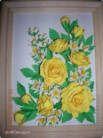 Картина, панно Бумагопластика, Квиллинг: Желтые розы Бумага, Бумажные полосы. Фото 1