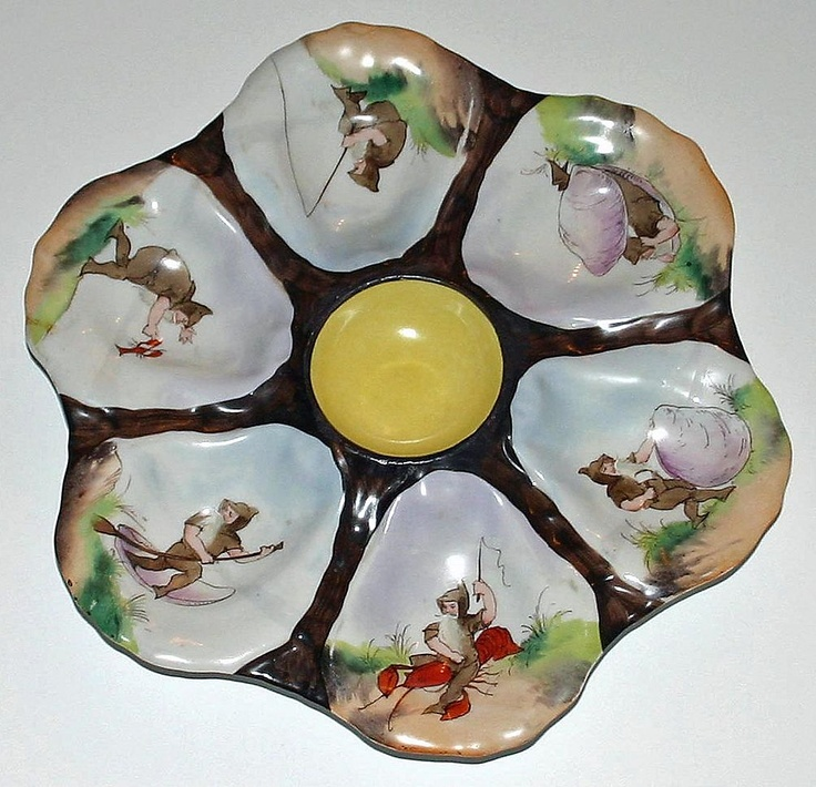 Most Unusual Vintage Oyster Plate - Fishing Gnomes - Shop on Ruby Lane #RubyLane # & 74 best Oh Gnome! images on Pinterest | Fungi Gnomes and Home ideas