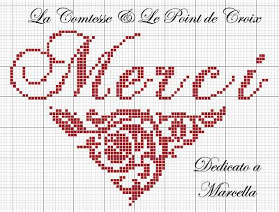 merci - thank you - point de croix-cross stitch - broderie-embroidery- Blog : http://broderiemimie44.canalblog.com/