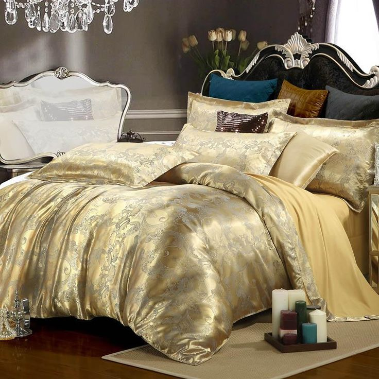luxury bedding set silk 4pcs bedclothes bed linen sets queen king size quiltduvet cover - Niedliche Noble Schlafzimmerideen