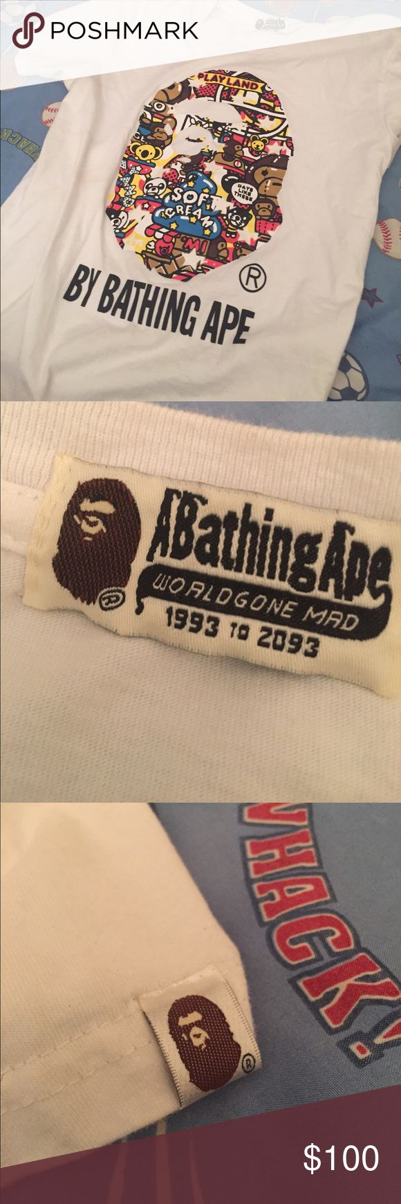 Glow in the dark bape tee shirt Medium sized 100% authentic bape shirt that glows in the dark !!! If Interested text my number 917-383-3258.. it's in perfect condition .. with tags bape Shirts Tees - Short Sleeve